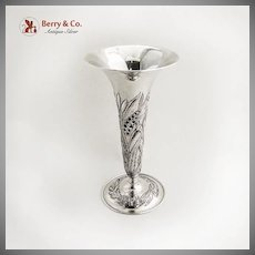 Repousse Trumpet Vase Sterling Silver Kirk 1900