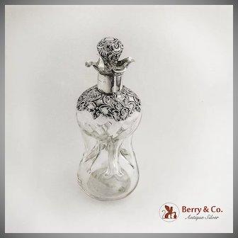 Ornate Decanter Hour Glass Body Sterling Overlay Birmingham