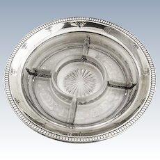 Sectional Dish Sterling Silver Rim Glass Base Watson 1920