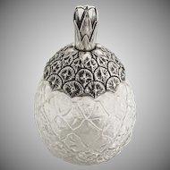 Pineapple Form Jar Sterling Silver Glass 1900
