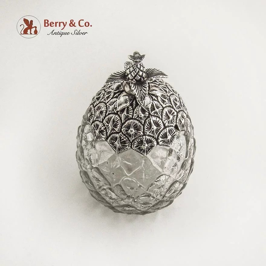 pineapple form jar sterling silver glass gorham silversmiths 1900 berry company antique silver ruby lane - Antique Silver Christmas Decorations