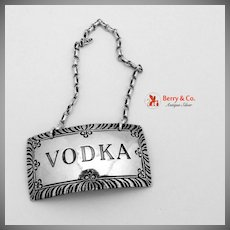 Vodka Bottle Tag Stieff Williamsburg Sterling Silver 1950