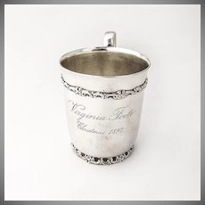 Antique Christmas Cup Sterling Silver Howard NY 1897
