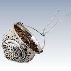 Ornate Repousse Tea Strainer Basket Insert Sterling Silver Fradley 1900