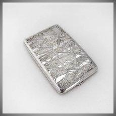 Japanese bamboo Cigarette Case 950 Sterling Silver 1930