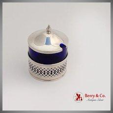 Mustard Pot Cobalt Blue Glass Liner Sterling Silver Webster 1920