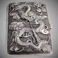 Chinese Export Silver Cigarette Case High Relief Dragon Sterling Silver
