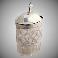 Georgian Mustard Pot Sterling Silver Cut Glass 1799