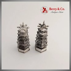 Chinese Export Silver Pagoda Salt and Pepper Shakers