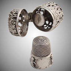 Thimble Holder and Thimble Sterling Silver 1900