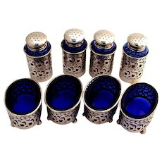 Open Salt and Pepper Shakers Sterling Silver Cobalt Blue Glass Wilcox and Wagoner 1910