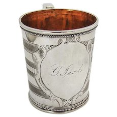 Christening Cup Coin Silver San Francisco CA Frederick Reichel 1860