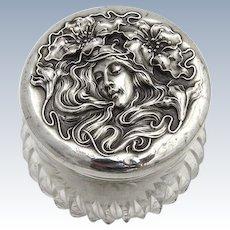 Art Nouveau Dresser Jar Sterling Silver Unger Brothers 1900