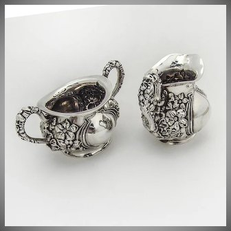 Art Nouveau Creamer and Sugar Bowl Sterling Silver 1900