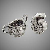 Art Nouveau Creamer and Sugar Bowl Sterling Silver 1900