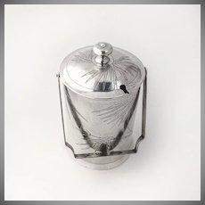 Antique Chinese Export Silver Bucket Form Jar Bamboo 1900-1930 Siu Kee Hong Kong