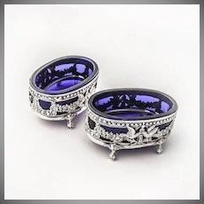 Large Ornate Open Salt Dishes Cobalt Blue Glass 800 Silver Hanau