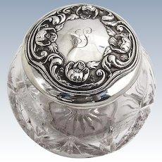 Art Nouveau Dresser Jar Repousse Pond Lily Lid Sterling Silver 1900