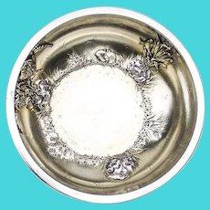 Aesthetic Large Serving Bowl Applied Pondlily Frog Feet Gorham Sterling Silver 1879