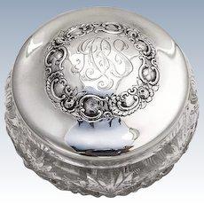 Large Dresser Jar Sterling Silver Cut Crystal Geo Shreve San Francisco 1910