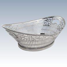 Ornate Oval Basket Bowl Open Work Dutch 833 Standard Silver 1912