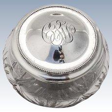 Dresser Jar Sterling Silver Cut Crystal Wallace 1910