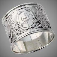 Art Nouveau Napkin Ring Sterling Silver Gorham Silversmiths 1906