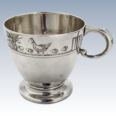 Chicken and Rooster Baby Cup Sterling Silver Mappin and Webb Sheffield 1936