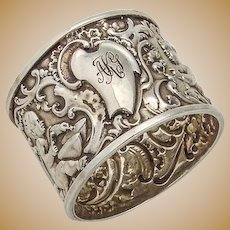 Ornate Repousse Napkin Ring Sterling Silver Baby Playing Drum 1895
