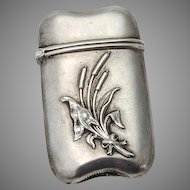 Match Safe Holder or Vesta Sterling Silver Cattail Decorations 1890