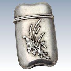 Match Safe Holder or Vesta Sterling Silver Cattail Decorations 1890