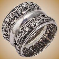 Napkin Ring Sterling Silver Ornate Ivy Vine Design 1900
