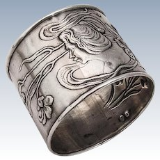 Art Nouveau Napkin Ring Sterling Silver Ladys Profile Flowers 1900