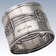 Napkin Ring Sterling Silver Art Nouveau Style Birmingham 1911 Jones and Crompton