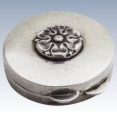 Round Pill Box Sterling Silver Floral Decoration