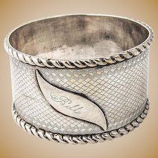 Coin Silver Napkin Ring Engine Turned Design 1880