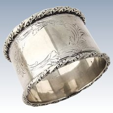 Coin Silver Napkin Ring Engine Turned Decorations 1880