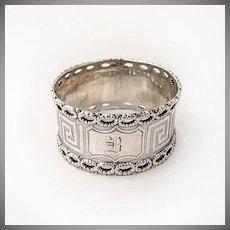 Coin Silver Napkin Ring Greek Key Design Open Work Designed Rims 1870