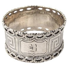 Coin Silver Napkin Ring Greek Key Design Open Work Designed Rims 1870