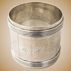 Barrel Form Napkin Ring Coin Silver 1880