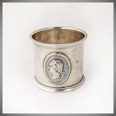 George Washington Medallion Napkin Ring Coin Silver 1880