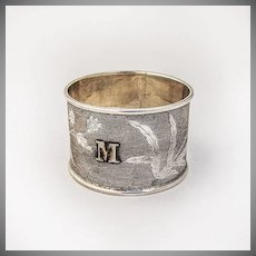 Chinese Export Silver Napkin Ring Floral Decorations 1900