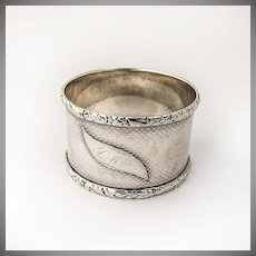 Coin Silver Napkin Ring Engine Turned Decorations 1870