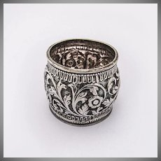 Ornate Napkin Ring Repousse Floral and Scroll Decorations Coin Silver 1900