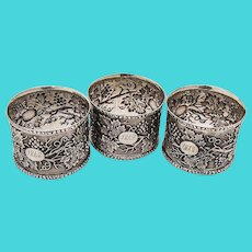 Ornate Three Napkin Rings Grape and Vine Decorations Coin Silver 1848