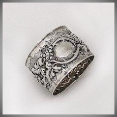Ornate Napkin Ring Sterling Silver Grape and Vine Chester 1902