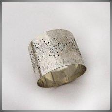 Coin Silver Napkin Ring Christmas Inscription 1879