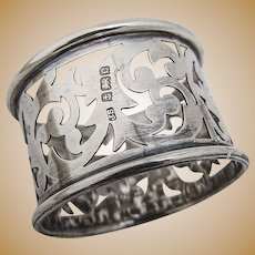 Napkin Ring Open Work Sterling Silver Birmingham 1902
