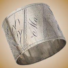 Napkin Ring Aesthetic Style Engraved Bird Coin Silver 1880
