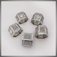 Hexagonal Napkin Rings 6 Coin Silver Scroll Chased Designs 1900